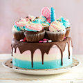 Pink And Blue Festive Cake Royalty Free Stock Photo - 84749635