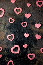 Pink Paper Hearts On Black Board. Royalty Free Stock Photo - 84764615