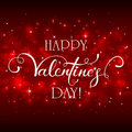 Happy Valentines Day With Hearts On Red Background Stock Photo - 84784520