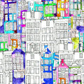 Seamless Pattern Eith Watercolor Amsterdam Houses Royalty Free Stock Photos - 84793178