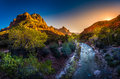 Zion National Park Virgin River And The Watchman At Sunset Royalty Free Stock Photos - 84793338