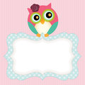 Background With Cute Owl And Label Stock Photography - 84797692