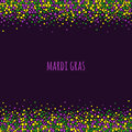 Mardi Gras Dotted Pattern With Space For Text. Colorful Dots Of Various Size On The Dark Purple Background. Royalty Free Stock Image - 84805586