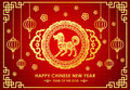 Happy Chinese New Year Card Is Chinese Lantern And Dog Zodiac In Chinese Frame Vector Design Royalty Free Stock Photo - 84808775
