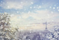 Christmas Background: Aerial View Of Paris Cityscape With Eiffel Tower At Winter Sunset In France Stock Images - 84810324