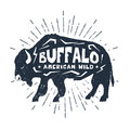 Hand Drawn Icon With Textured Buffalo Vector Illustration. Stock Images - 84816454