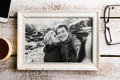 Black-and-white Photo Of Senior Couple In White Picture Frame. Stock Photos - 84825173