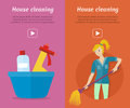 Set Of Cleaning Service Flat Style Web Banners Royalty Free Stock Photos - 84842148