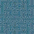 Vector Graphic Abstract Geometry Maze Pattern. Blue Seamless Geometric Background Royalty Free Stock Image - 84847216
