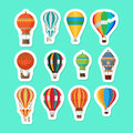 Vintage Hot Air Balloons Stickers Set Royalty Free Stock Image - 84854916