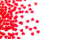 Valentine`s Day  Decorative Border Of Red Hearts Confetti Isolated On White Background. Stock Photography - 84861492