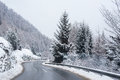 Winter Road Icy Forest Covered Snow Scenic Mountain Austria Royalty Free Stock Image - 84863896