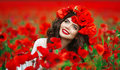 Beautiful Happy Smiling Teen Girl Portrait With Red Flowers On H Stock Image - 84868181
