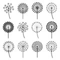 Set Of Stylized Dandelions Royalty Free Stock Image - 84869926