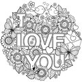 I Love You. Rounder Frame Made Of Flowers, Butterflies, Birds Kissing And The Word Love. Royalty Free Stock Images - 84898339