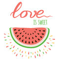 Vector Romantic Positive Banner Love Is Sweet Royalty Free Stock Photography - 84899927