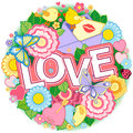 I Love You. Rounder Frame Made Of Flowers, Butterflies, Birds Kissing And The Word Love. Stock Photos - 84907973