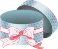 Vintage Round Gift Box With Bow Ribbon Royalty Free Stock Photos - 84909338
