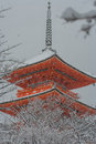Red Pagoda At Kiyomizu-dera Temple With Tree Covered White Snow Background. Stock Image - 84909601