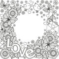 I Love You. Rounder Frame Made Of Flowers, Butterflies, Birds Kissing And The Word Love. Stock Photo - 84919280