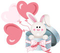 Bunny In Round Gift Box With Bow Ribbon And Balloons Royalty Free Stock Images - 84926149