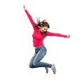 Smiling Young Woman Jumping In Air Royalty Free Stock Photography - 84938177
