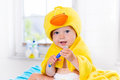 Baby In Bath Towel With Tooth Brush Stock Photography - 84952122