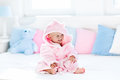 Baby In Bathrobe Or Towel After Bath Royalty Free Stock Photography - 84958127