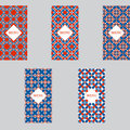 Vector Set Seamless Red-blue Design Texture Menu Vintage Ornament Or Geometric Shapes For Packaging  Leaflet.  T Stock Photos - 84963853