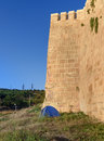 Tourist Tent Near Wall Of Naryn-Kala Fortress. Derbent Royalty Free Stock Photography - 85004337