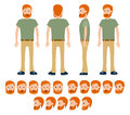 Male Construction Traveller For Different Poses Set. Royalty Free Stock Images - 85009549