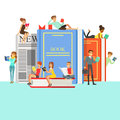 People Who Love To Read Reading Books Around Giant Books With Hard Cover And Newspaper Royalty Free Stock Photos - 85011038