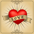 Retro Tattoo Heart With Gold Ribbons. Happy Valentine`s Day Card Royalty Free Stock Image - 85011666