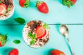 Cheesecake With Strawberry And Mint Royalty Free Stock Photos - 85013288