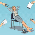 Pop Art Tired Business Woman Relaxing On Chair Stock Photography - 85024352