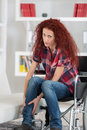 Disabled Redhead Woman Twisted Ankle And Feels Pain Stock Photography - 85025532