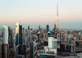 Fantastic Rooftop View Of Dubai Business Bay Towers At Sunset. Royalty Free Stock Photo - 85041425