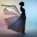 Silhouette Elegant Woman In Blowing Dress Royalty Free Stock Image - 85048306