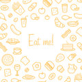 Background With Line Icons Of Food Like Sausage, Cake, Donut, Croissant, Bacon Royalty Free Stock Image - 85054796
