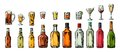 Set Glass And Bottle Beer, Whiskey, Wine, Gin, Rum, Tequila, Cognac, Champagne, Cocktail, Grog. Royalty Free Stock Images - 85055079