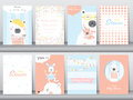 Set Of Baby Shower Invitation Cards,birthday,poster,template,greeting Cards,animals,cute,bears,Vector Illustrations Stock Image - 85061031