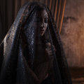 Mysterious Portrait Of Beautiful Woman In Black Lace Veil Royalty Free Stock Photos - 85072768