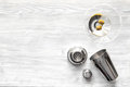 Martini And Shaker Top View Of Wooden Background Stock Images - 85085274