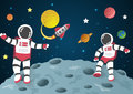 Astronaut Cartoon On The Moon With A Spaceship In Space Royalty Free Stock Photography - 85094627