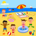Kids Playing On The Beach Stock Image - 8512301
