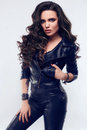 Young Sexy Girl With Long Hair In Leather Jacket Stock Photo - 85102600