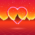 80s Styled Retro Futuristic Card With Neon Heart In Computer Wor Stock Photography - 85128292