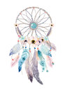 Isolated Watercolor Decoration Bohemian Dreamcatcher. Boho Feath Royalty Free Stock Image - 85131436