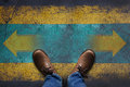 Top View, Stand Over Arrow Sign On Grunge Floor, Making Decision Stock Images - 85140314