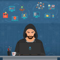 Hacker Man Hacking Secret Data On The Laptop. Icon Set. Modern Transperance Flat Vector Illustration. Stock Image - 85146771